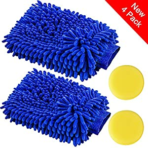 Car Wash Mitts Waxing Polish Wax Foam Sponge - Automobile Detailing Gloves - Premium Chenille Microfiber Duster Cleaning Cloth Kit,Car Care Equipment,Towels Accessories …