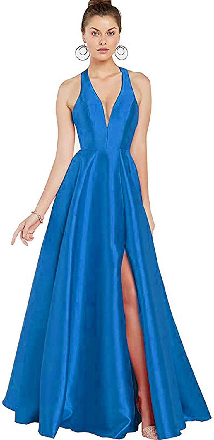 bluee Satin Long Prom Dress with High Slit Formal Ball Gown Low VNeckline Maxi Skirt