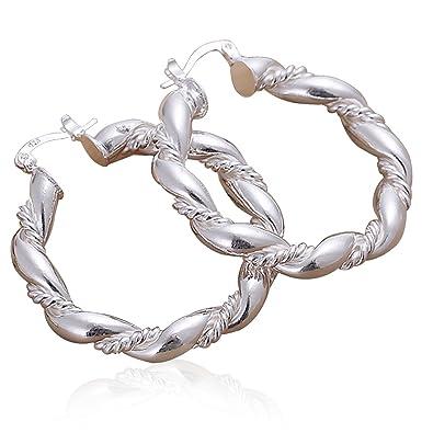 2250fcaec Amazon.com: Evaliana Twist Rope Braided Chunky Hoop Loop Ear Stud Earrings  Jewelry Present: Jewelry