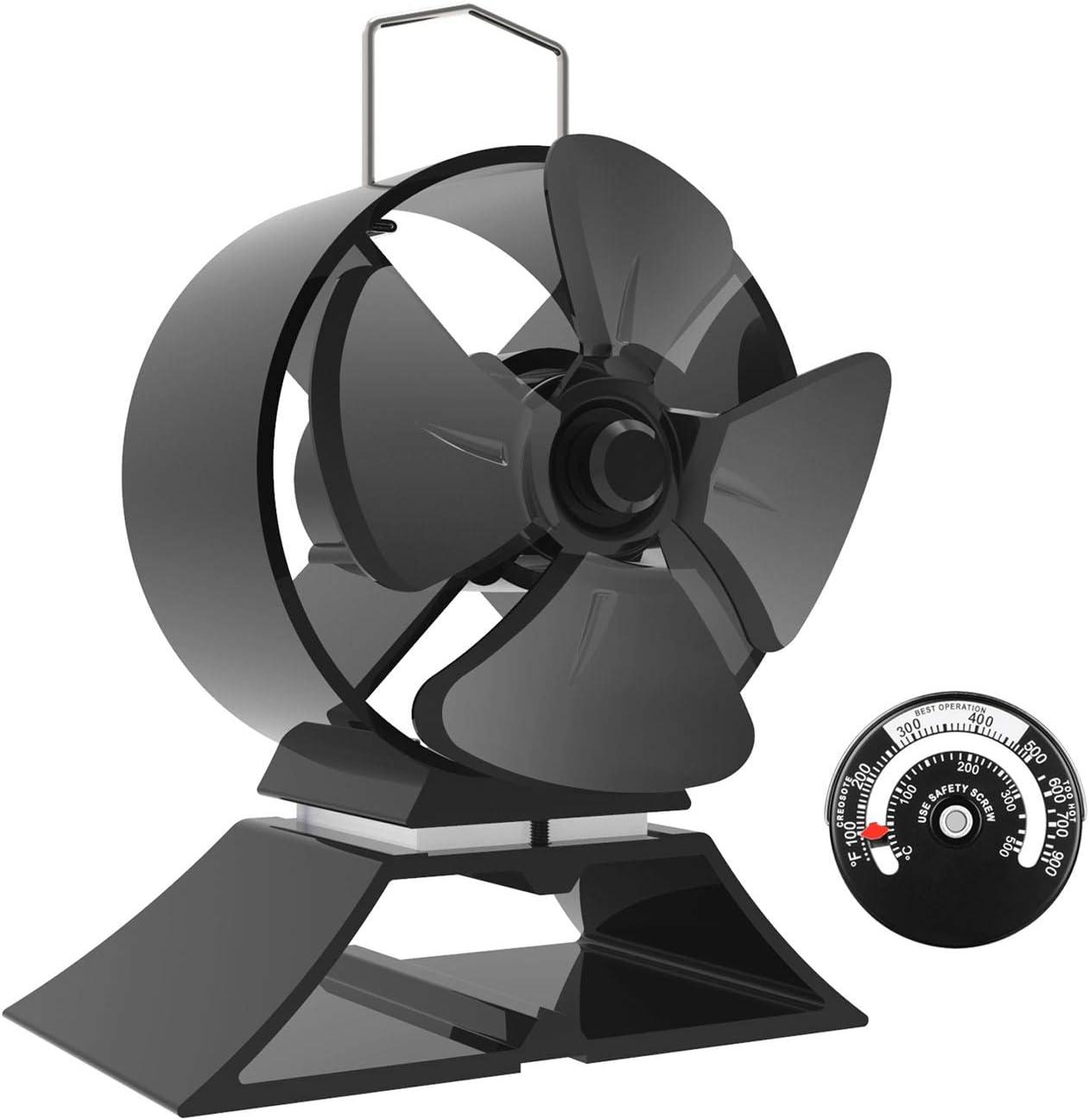 Mini Ventilador de Estufa - 4 cuchillas Operación silenciosa Ventilador de estufa de calor para leña/estufa de leña/chimenea -Respetuoso del medio ambiente[Clase energética A +++]