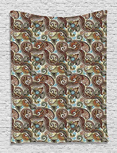 asddcdfdd Paisley Decor Collection, Ethnic Flowers and Blossoms Eastern Ottoman Pattern, Bedroom Living Girls Room Dorm Accessories Wall Hanging Tapestry, Brown Green Blue Turquoise Ecru