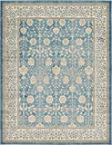 Luxury Vintage Persian Design Tabriz Rug Light Blue 9′ x 12′ St.George Collection Area Rugs
