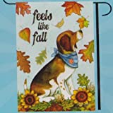 """ feels like fall "" Large Garden Flag 28 inch x 40 inch Dog with Fall Leaves Review"
