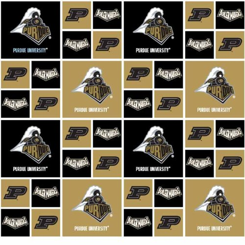PURDUE BOILERMAKERS COTTON FABRIC-100% COTTON -PURDUE BOILERMAKERS FABRIC SOLD BY THE YARD-PURDUE BOILERMAKERS #20 SYKEL-COLLEGE COTTON FABRIC