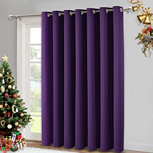 NICETOWN Blackout Curtain 95 inches Long - Silver Rings Thermal Insulated Wide Sliding Glass Door Privacy Blinds for Hall/Villa (Royal Purple, 100 inches Wide)