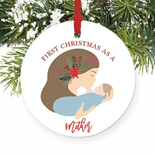 first christmas as a mother ornament new mother ornament porcelain new mom of a - Baby Boy First Christmas Ornament