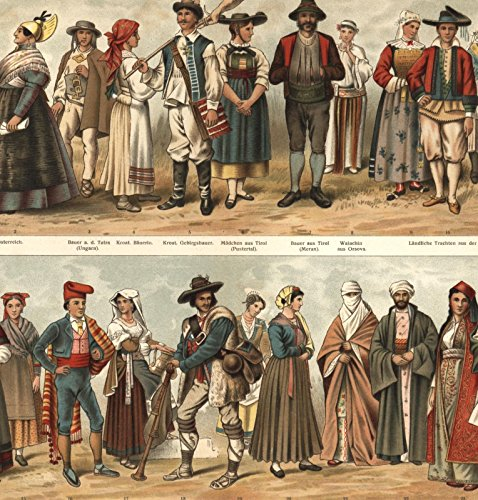 Ethnic costumes dress 1890s color print lovely old European Greece Austria (1890s Dress Costume)