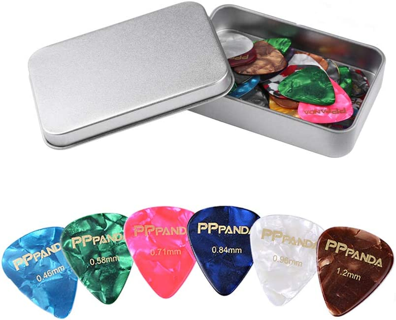 PPpanda Guitar Picks 48pcs, Guitar Plectrums for Your Electric, Acoustic, or Bass Guitar Thin, Medium, Heavy 0.46 0.58 0.71 0.84 0.96 1.2mm