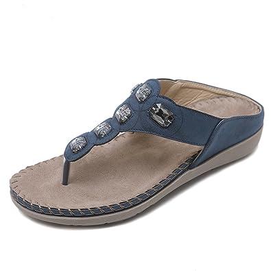 Ruiren Frauen Bohemian Strass Flachen Sandalen, Sommer Flip-Flops Schuhe für Damen