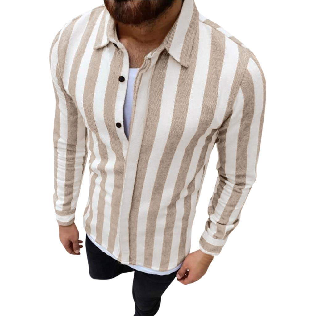 Yutao Fashion Mens Autumn Winter Casual Stripe Button Long Sleeve Shirt Blouse Top