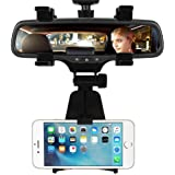 Die Hard CQLEK Universally Adjustable Car Rear-View Mirror Mount Holder Stand with Fall Prevention, 360 Degree Rotation and Anti-Vibration Pads Supports 6.5 inch Mobiles (Black)