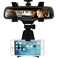 CQLEK™ Car Rear-View Mirror Mount Stand - Anti Shake Fall Prevention | 360 Degree Rotation | with Anti-Vibration Pads | Universal Adjustable Car Mount Holder Supports Upto 6.5 inch Mobiles