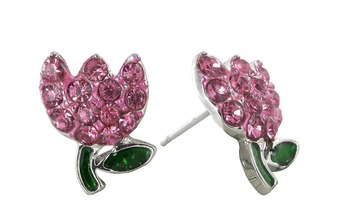 Springs Mini Tulip Crystal Rhinestone Stud Earrings in Rose Pink for Easter