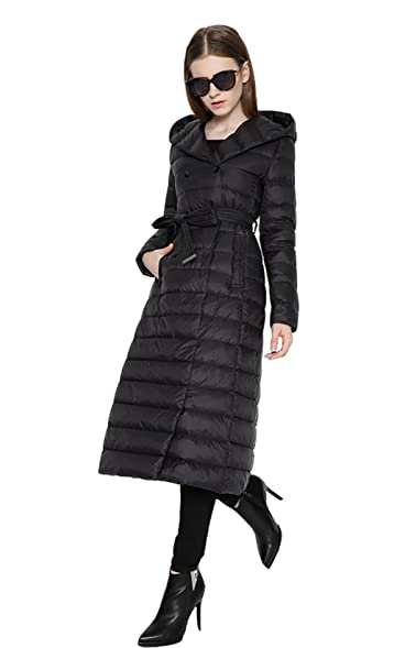 Eleter Women's Ultra Light Winter Coat Long Down Coat with Hood ...
