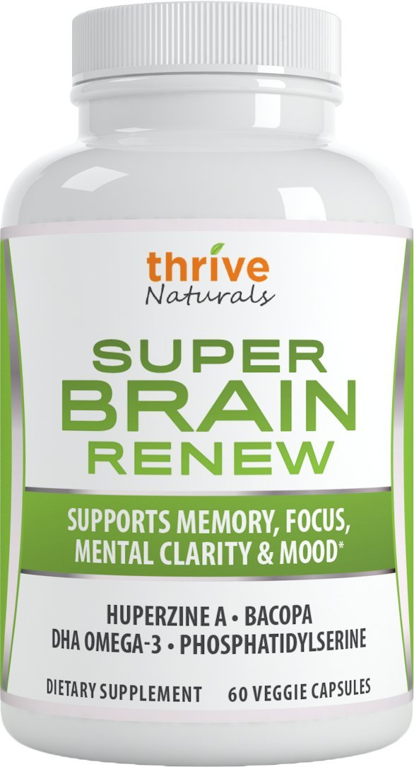 Thrive Naturals Super Brain Renew - Maximum Strength for Improved Cognitive Function, Memory, Focus and Mental Clarity - 60 Vegetarian Capsules - 1 Month Supply by Thrive Naturals (Image #1)