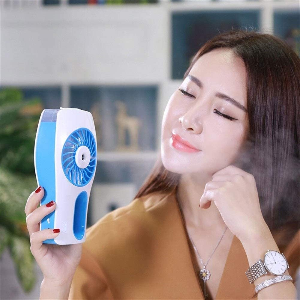Mini Portable Cooling Fan Rechargeable Fan Mini USB Fan 2000mAH Battery Air Cooling for Home Outdoor Color : Blue
