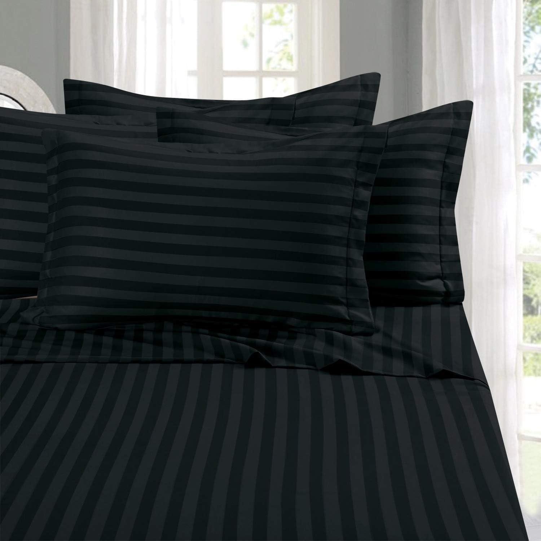 Egyptian Cotton 1000tc 4 PCs Sheet Set Extra Deep Pocket Full Size Stripe Colors