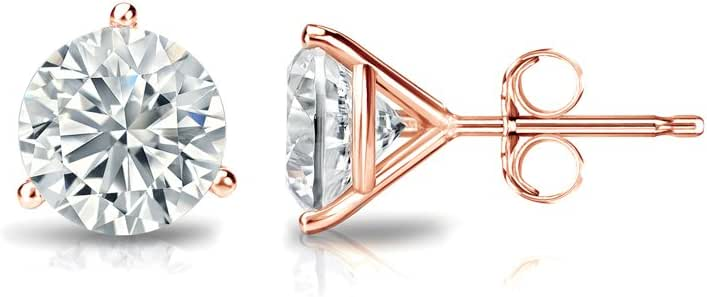 Push-Back 0.08cttw, Premium, VS2-SI1 3-Prong Martini Set Diamond Wish 18k Gold Round SINGLE Diamond Stud Earring