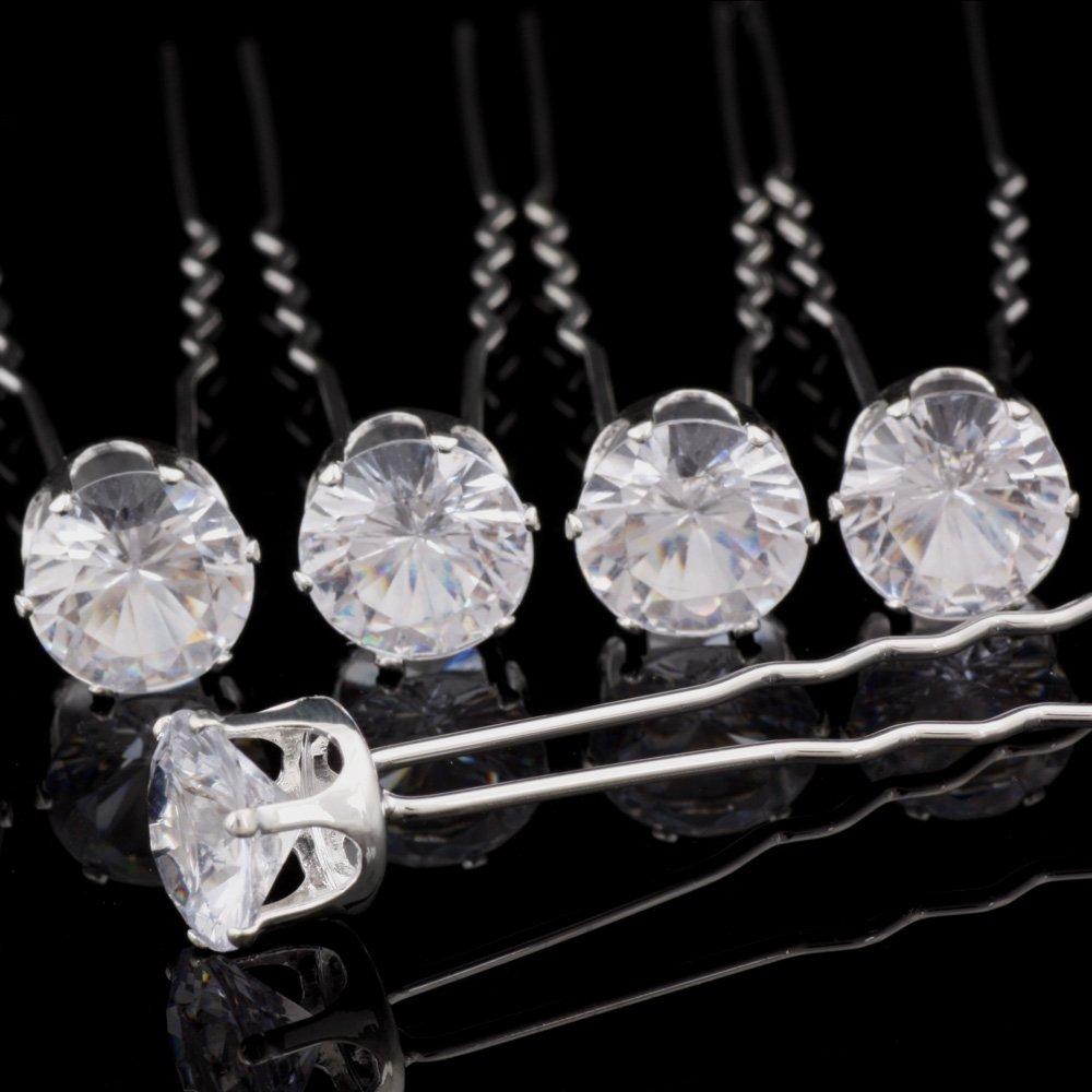 12 Clear Diamonte Crystal Hair Pins Grips Wedding Bridesmaid Prom Bride