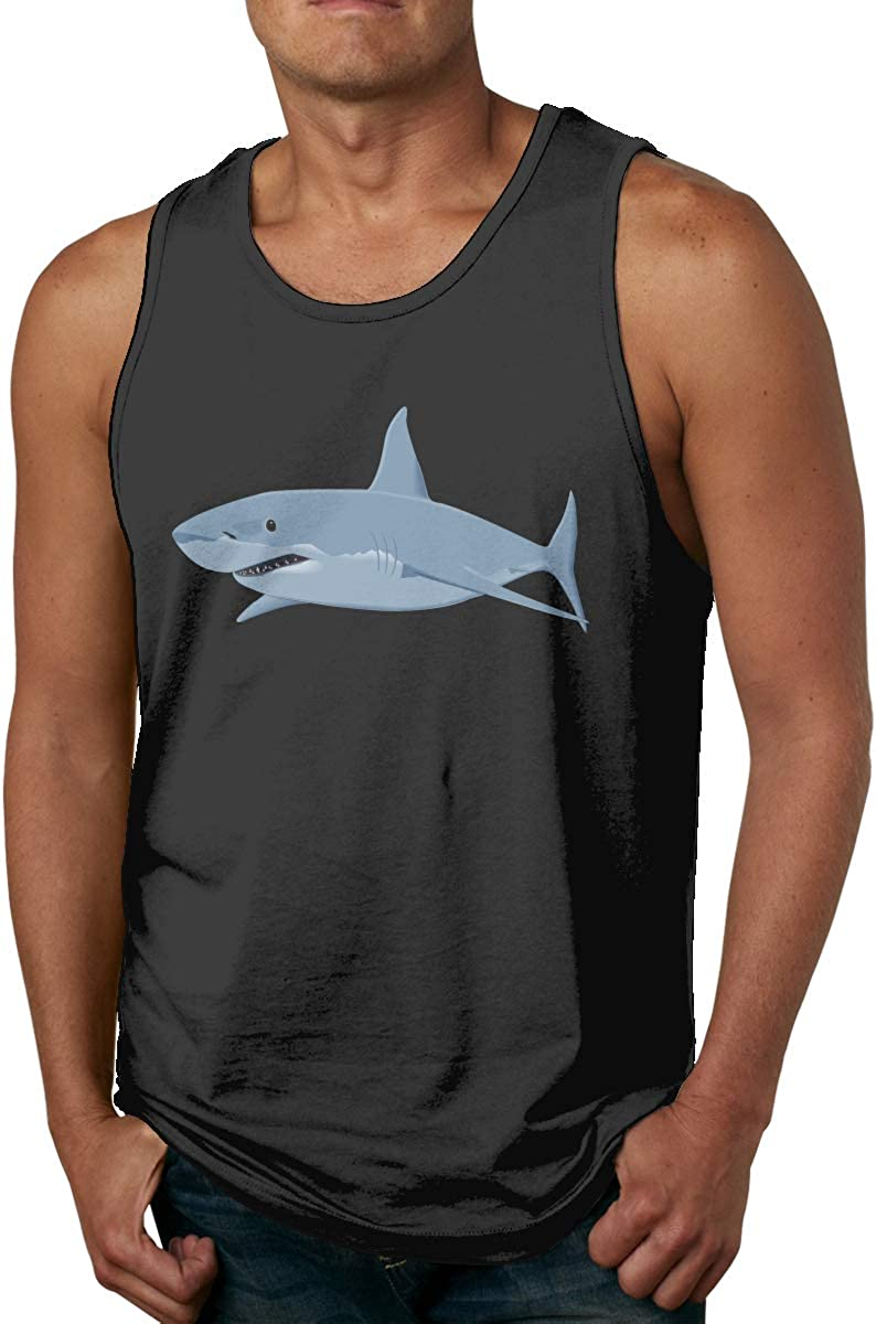 Men's Shark_PNG_Clipart_Image-450 Classic Tank Top Comfortable Cotton Gym Sleeveless Vest Shirt Black