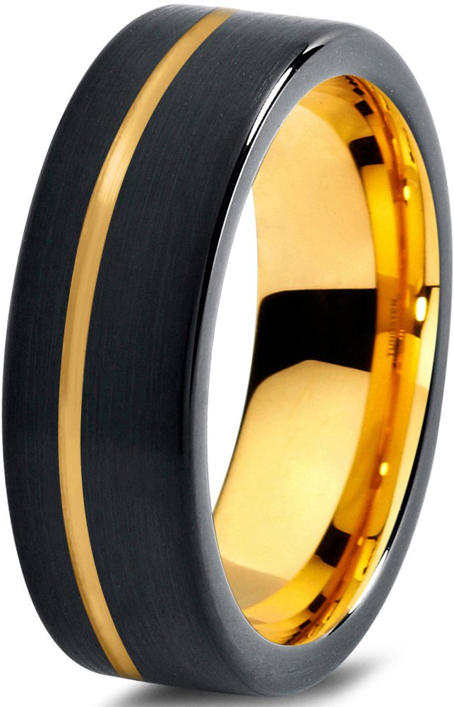 Tungsten Wedding Band Ring 7mm for Men Women Black Rose Yellow Gold Plated Flat Cut Offset Line Brushed Polished Charming Jewelers MDC-709-7