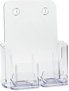 SOURCEONE.ORG Deluxe Full Size 8.5 x 11 Inches Wall Mount or Counter Top Brochure Holder with 2 Gift/Business Card Holders