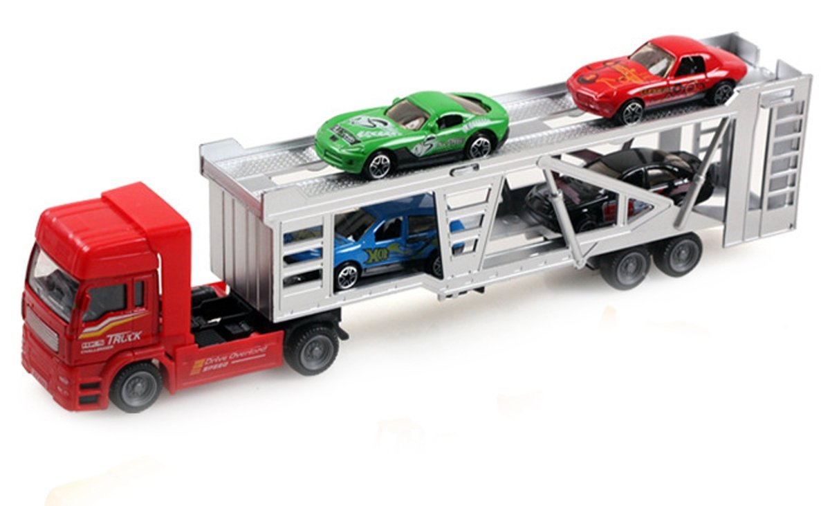carrier toy. aivtalk transport trailer car carrier truck toy for boys (includes 4 cars) - multicolor: amazon.co.uk: toys \u0026 games a