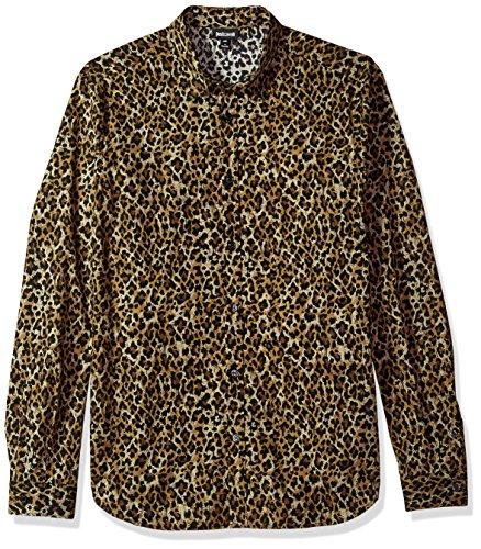 Just Cavalli Men's Wild Print Shirt, Natural, - Cavalli Men For Just