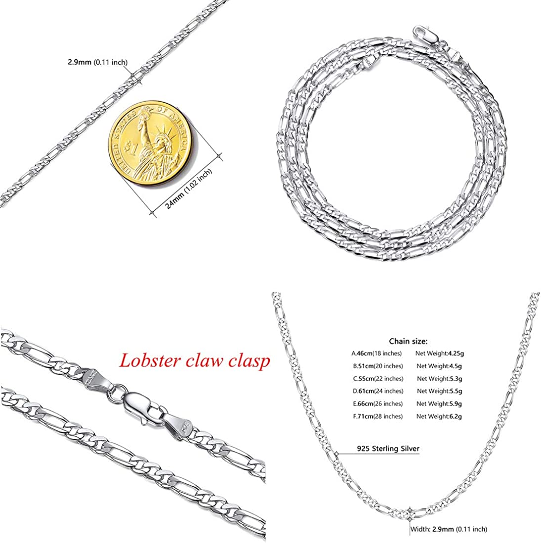 Length 14 Inch to 30 Inch U7 Gift Packaging 1mm-5mm Solid 925 Sterling Silver Chain for Men Women Teen Jewelry Cable//Rolo//Singapore//Box//Figaro//Cuban Curb Chains Necklace