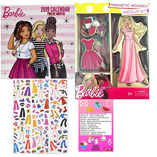 Multiple Barbie My First Magnetic Wooden Dress-Up Doll Set Gift Set and Barbie 2019 Wall Calendar 10x 10 in. and Dress Up Sticker Sheet with 123 Stickers Quiet Art Time 3 Piece Bundle (Robert Best Barbie Calendar)