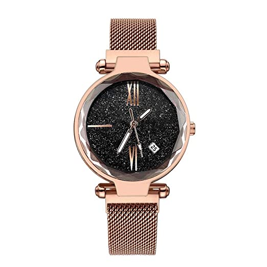 Reloj de Pulsera con Hebilla de imán Relojes de Acero Inoxidable Correas Relojes de Cielo Estrellado: Amazon.es: Relojes
