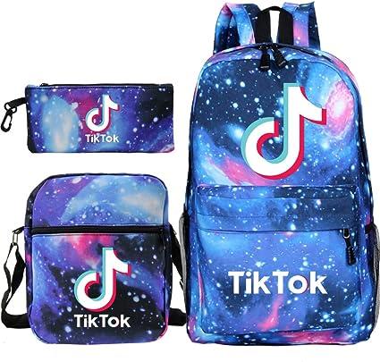 TIK Tok Records Good Life Childrens Backpack Boy Girl Pupils Schoolbag Cute Schoolbag