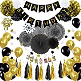 Musebits Black Birthday Party Decorations Essential 100Pcs, Including Cake Topper, Photo Clips, Paper Fans, Pom Poms Flowers, Birthday Banner, Tissue, Paper Garland, Balloons
