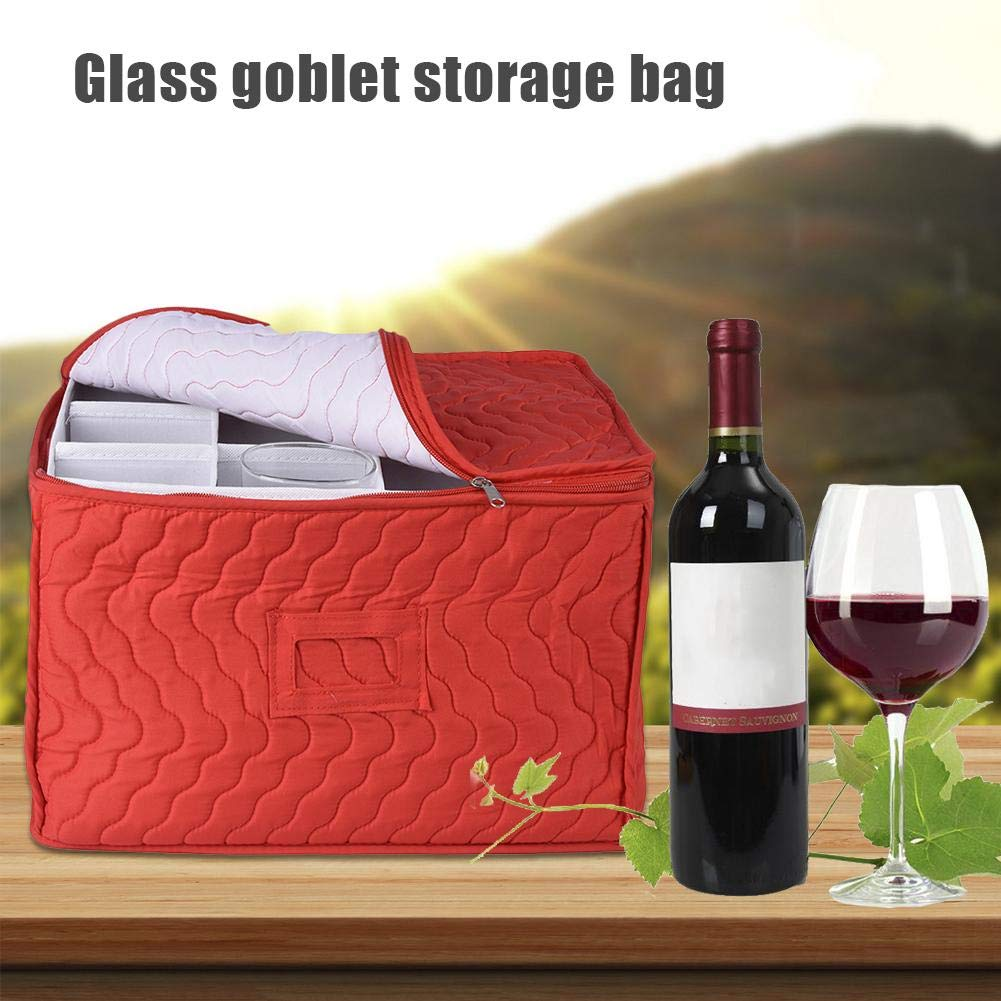 Ideal para Proteger o Transportar Copas de Vino Multicolor WUYANSE Stemware Storage Chest Case Goblet Bolsa de Almacenamiento con 12 divisores