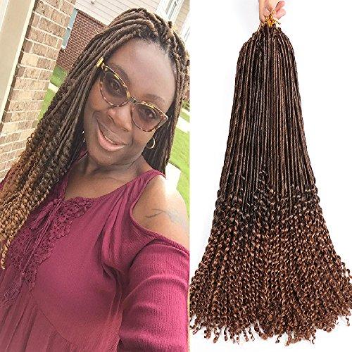 18 Inch 24 Strands/Pack Goddess Faux Locs Crochet Hair Crochet Braids Hair Extension Loose Curly Crochet Hair Dreadlocks Synthetic Braiding Hair 6 Packs (1B/30#) - Loose Braid