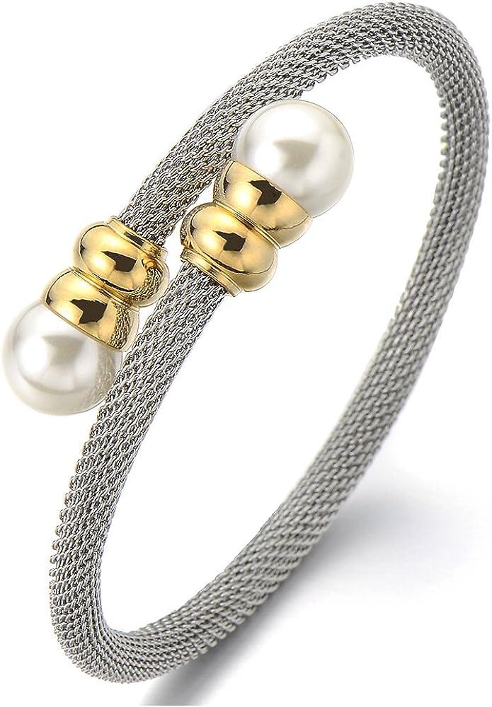 Bracelet Manchette C/âble Torsad/é Bracelet Acier Inoxydable pour Hommes et Femmes COOLSTEELANDBEYOND /élastique R/églable