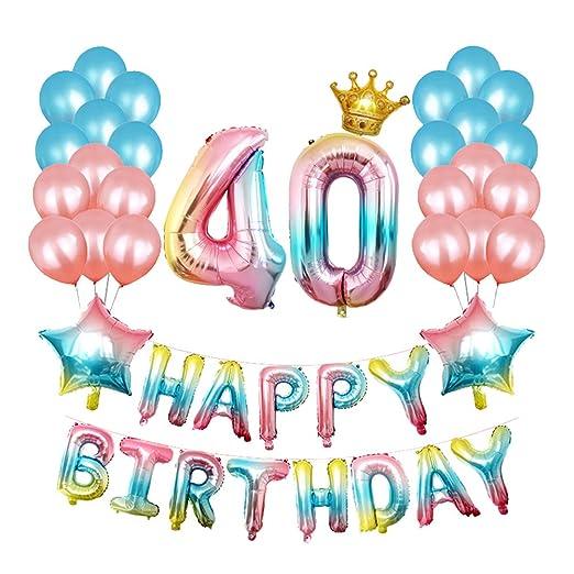 STOBOK 40 cumpleaños Decoraciones, Gradient Happy Birthday ...