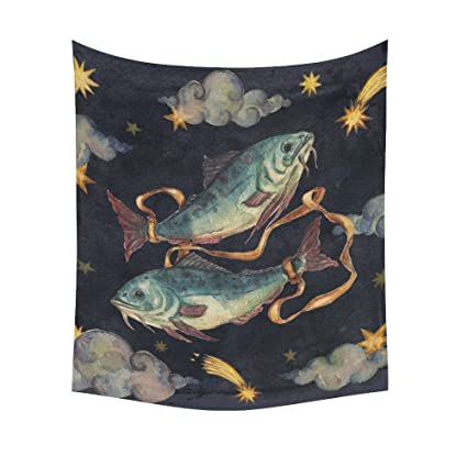 775861206 Image Unavailable. Image not available for. Color: INTERESTPRINT Vintage  Retro Pisces Painting Home Decor Wall Art, Zodiac Signs Pisces Tapestry ...