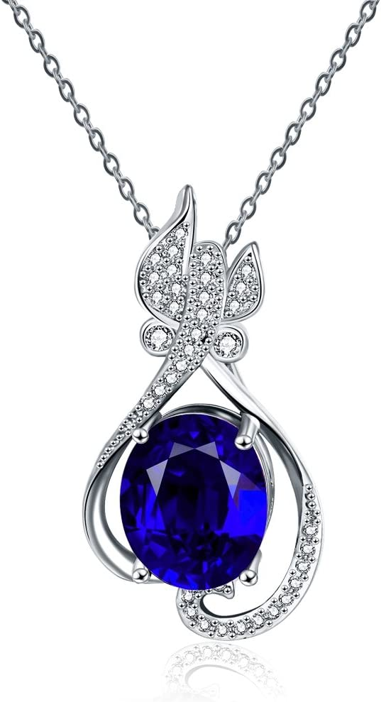 KopooaP Platinum Gold Necklaces Pendant Jewelry Birthday Gifts Presents Gemstone for Women Anniversary Zirconia Crystal