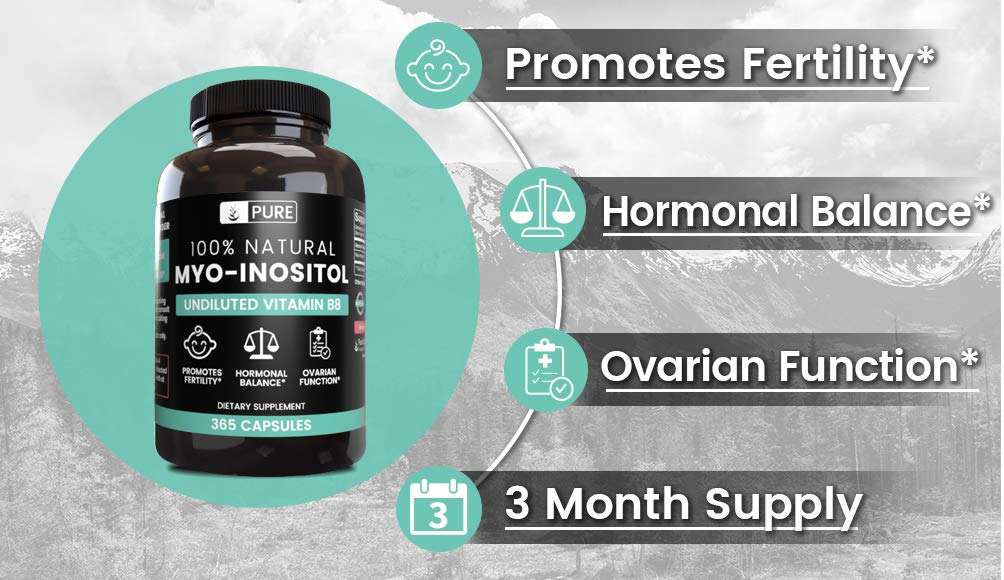 100% Pure Myo-Inositol 365 Capsules | 3 Month Supply | No Additives or Magnesium Stearate Fillers | All-Natural | Vegetarian | 1,860mg Undiluted Vitamin B8 Myo-Inositol Powder | Made in USA