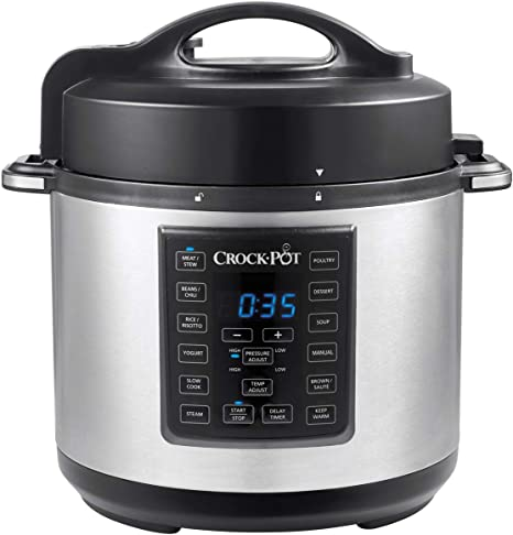 Crock Pot Express Pressure Cooker Csc051 12 In 1 Programmable Multi Cooker Slow Cooker Steamer And Saute 5 6 Litre Stainless Steel Amazon Co Uk Kitchen Home