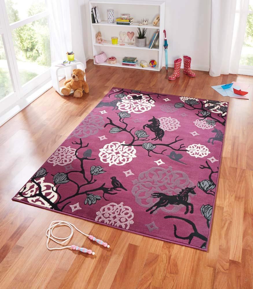 Zala Living Unicorn Design Velours Kinderteppich, Popypropylen, Violett, 200 x 140 x 0,9 cm