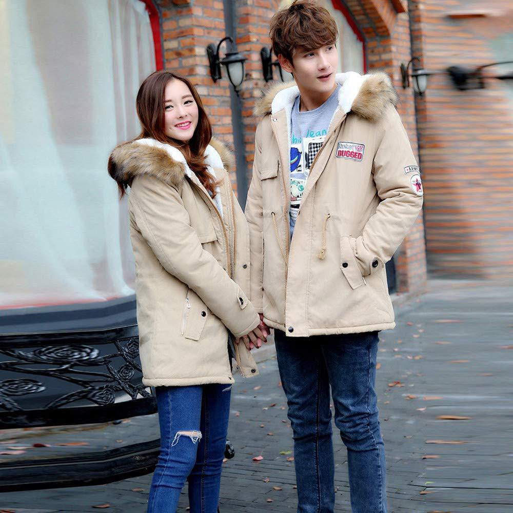 Amazon.com: Mens Womens Coat Plus Size Fur Collar Couple Cotton Pocket Long Hooded Jacket: Appliances