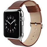 Apple Watch Strap 42mm, Simpeak Genuine Leather Replacement Strap Band for Apple Watch 42mm Series 1/2/3 Version 2015 2016 2017 (Adaptors Included), Brown