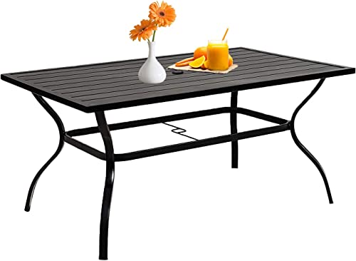 Patiomore 60″ x 37″ Patio Dining Table Outdoor Rectangular Slated Furniture