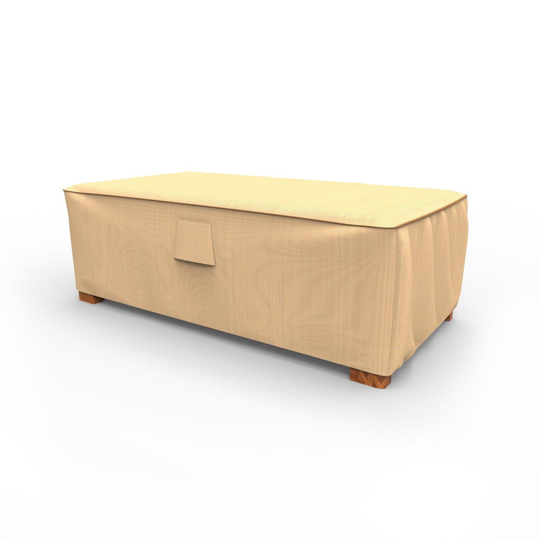 Budge P5A35TNNW1 Sedona Patio Ottoman Cover/Coffee Table Cover, Medium, Tan by Budge