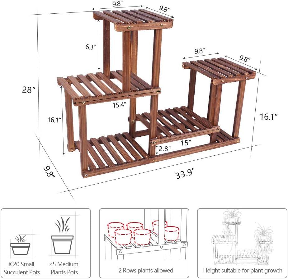 Soporte para plantas de madera de pino para interiores y ...