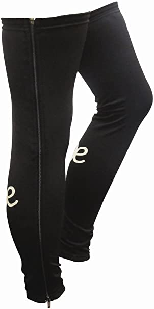ETC Menss Leg Warmers Full Zip Warm Up Black Legwarmers