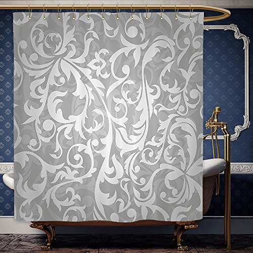 Wanranhome Custom-made shower curtain Silver Set Victorian Style Large Leaf Floral Pattern Swirl Classic Artsy Abstract French Vintage Print Decor Gray For Bathroom Decoration 72 x 84 - Galleria Near Me