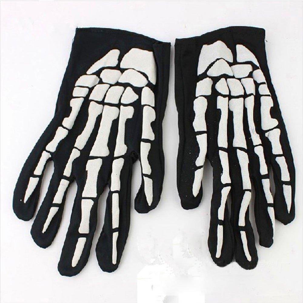 Bolayu Fashion Halloween Horror Skull Claw Bone Skeleton Goth Racing Full Gloves (Black) by Bolayu (Image #3)
